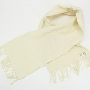 Vintage White Cream 100% Lambswool Scarf